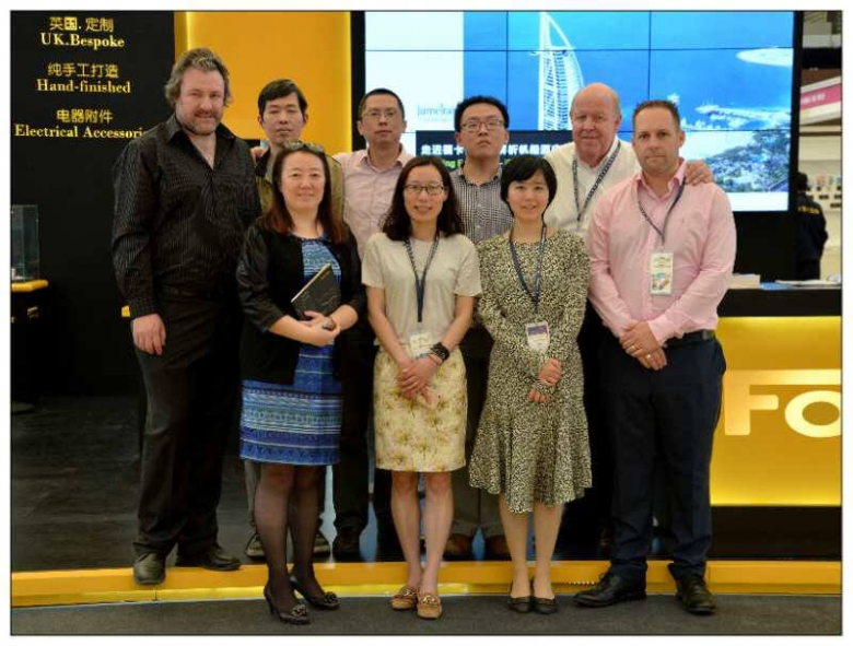 Image caption: Back (left to right): Mark Curtis (Focus SB), Mitchell Meng, Mark Tang, Zhang, Edward Dempsey (Kursel Ltd). Front (left to right): Sunny Chen, Lily Wu, Fayoni (Kursel Ltd), Duncan Ray (Focus SB).