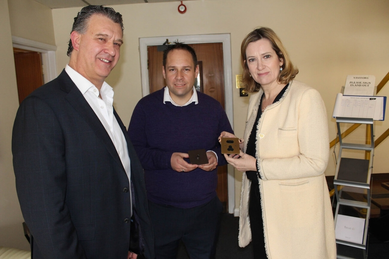 Focus SB's managing director, Gary Stevens; supply chain and NPI manager, Duncan Ray; the Right Hon Amber Rudd, Home Secretary and Hastings and Rye Conservative MP.