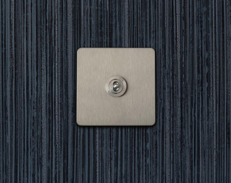 Ambassador Classic 2 way & off retractive dolly grid switch, Satin Stainless finish.